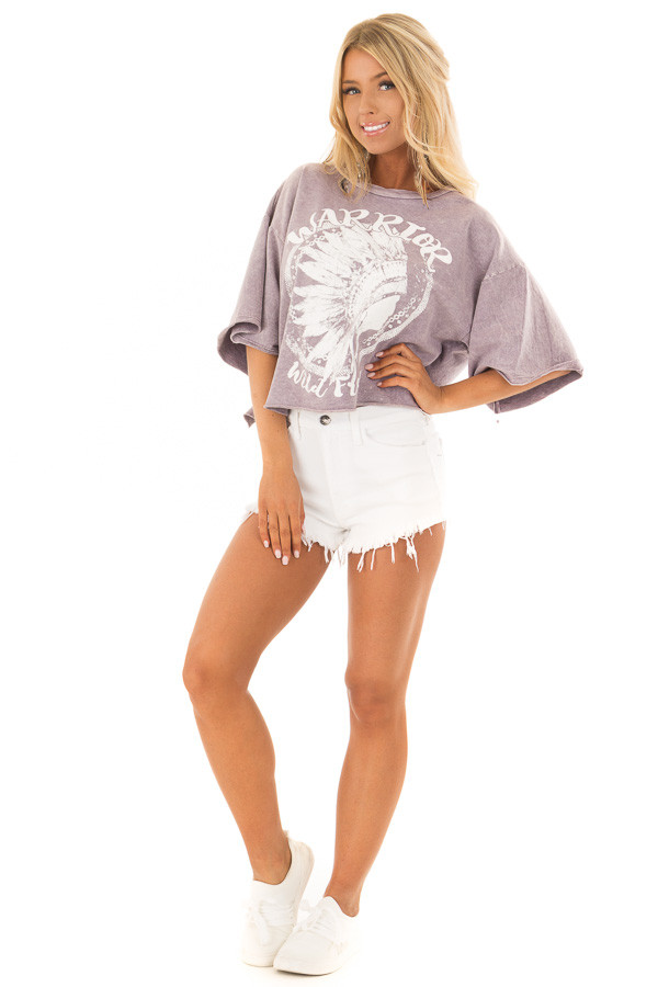 Lavender Mineral Wash 'Warrior' Graphic Print Crop Top front full body