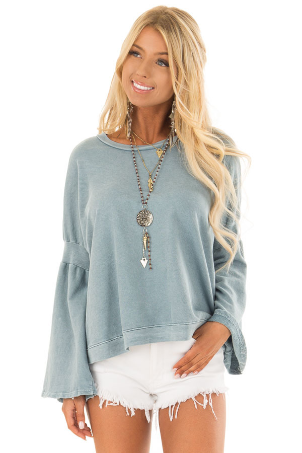 Dusty Blue Long Bell Sleeve Sweater Top front close up