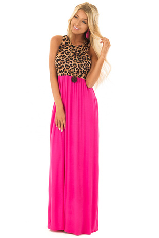 Magenta Maxi Dress with Leopard Contrast and Side Pockets front full body