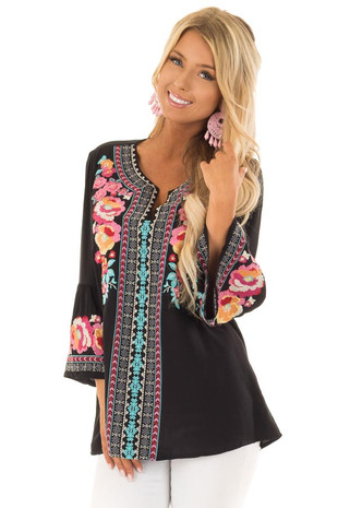 Obsidian Tunic with Multicolor Embroidery and Bell Sleeves front close up