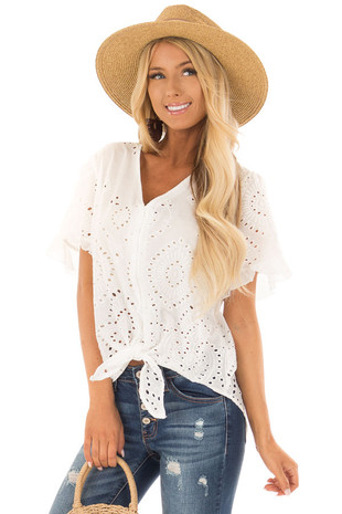 White Eyelet Detail Sheer Top with Front Tie front close up