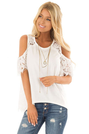White Cold Shoulder Top with Sheer Lace Contrast front close up