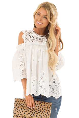 White Embroidered Cold Shoulder Blouse with Small Ruffles front close up
