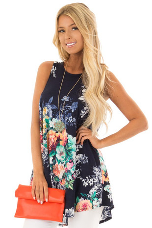 Space Blue Floral Print Tank Top with Cutout Back front full body