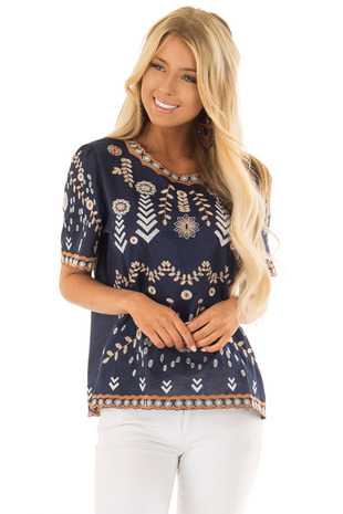 Navy Blouse with Floral Embroidered Details front full body