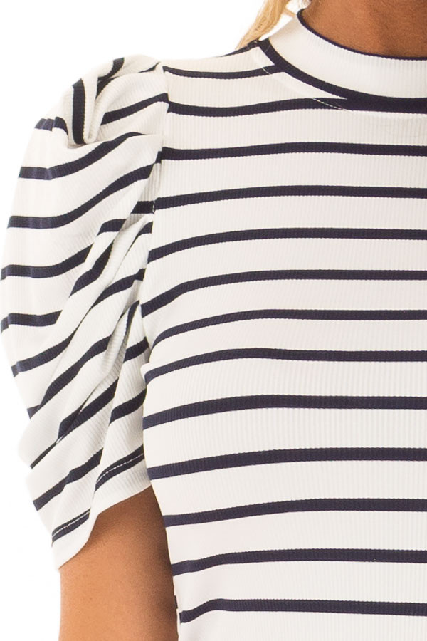 Navy and White Striped Bodysuit with Puff Sleeves detail