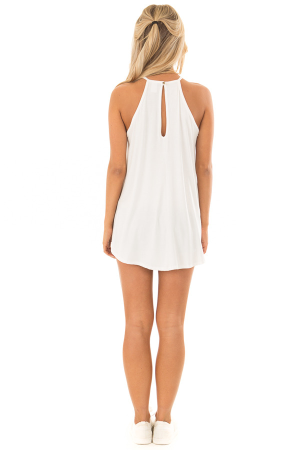 Daisy White Tank Top with Sheer Lace Chest back full body