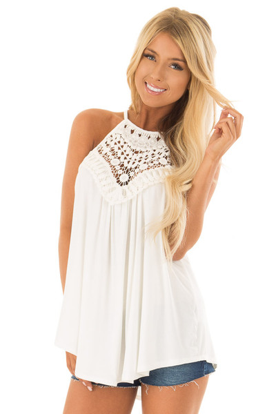Daisy White Tank Top with Sheer Lace Chest front close up
