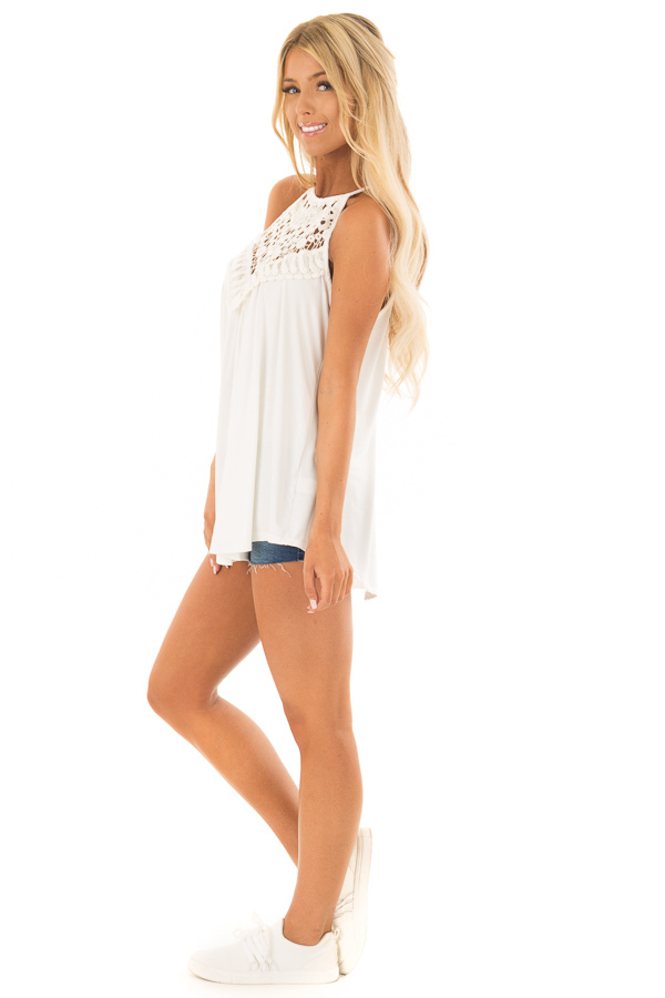 Daisy White Tank Top with Sheer Lace Chest side full body