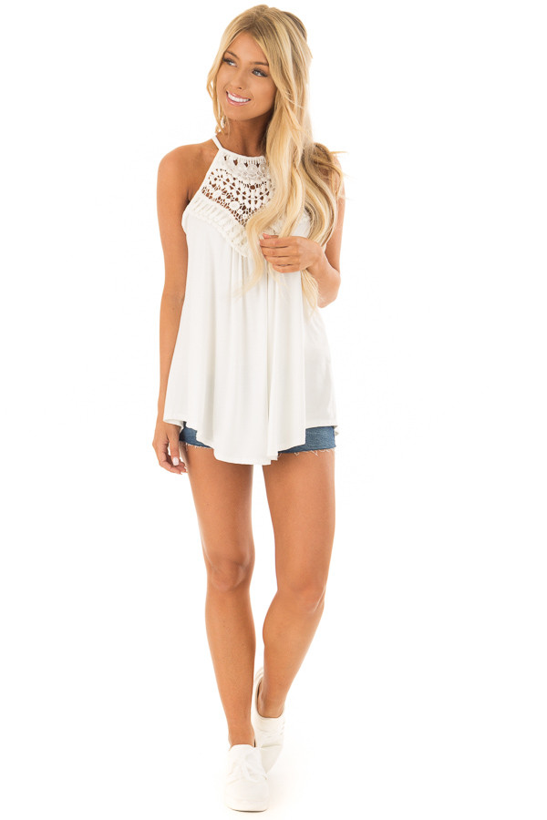 Daisy White Tank Top with Sheer Lace Chest front full body