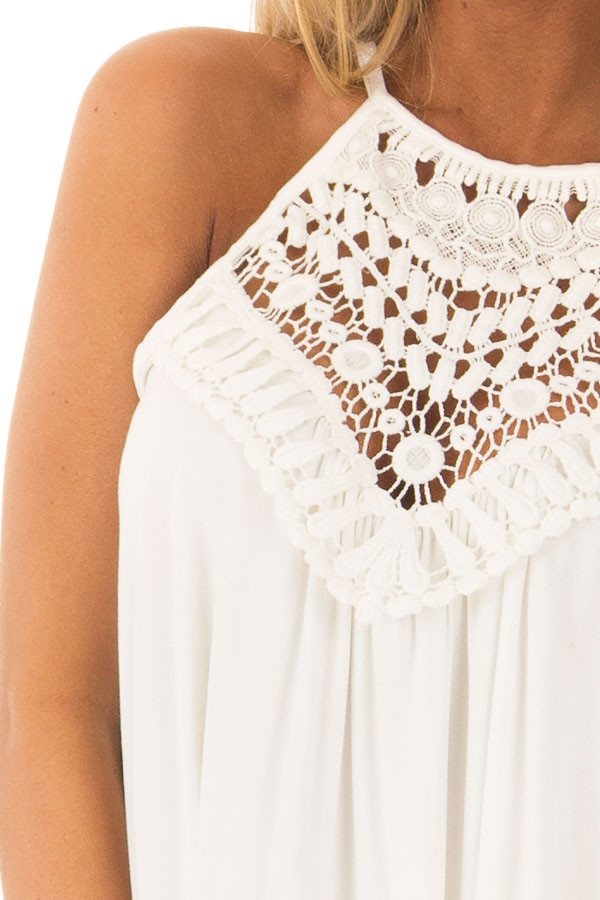 Daisy White Tank Top with Sheer Lace Chest detail
