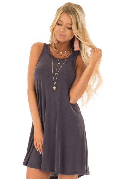 Charcoal Soft Ribbed Knit Tank Top Swing Dress front close up
