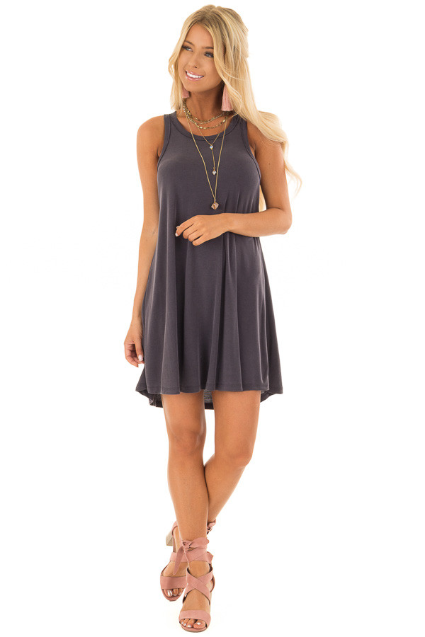 Charcoal Soft Ribbed Knit Tank Top Swing Dress front full body