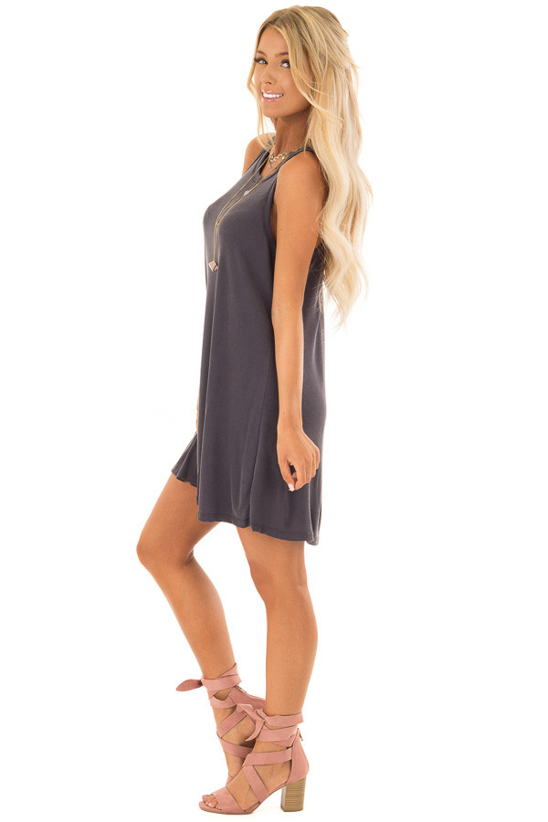 Charcoal Soft Ribbed Knit Tank Top Swing Dress side full body