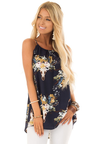 Oxford Blue Floral Skull Tank Top with Keyhole Front front close up