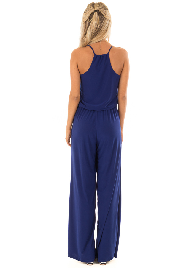 Royal Blue Slinky Jumpsuit with Elastic Waist and Pockets back full body