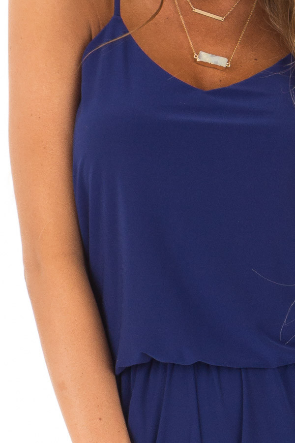 Royal Blue Slinky Jumpsuit with Elastic Waist and Pockets detail