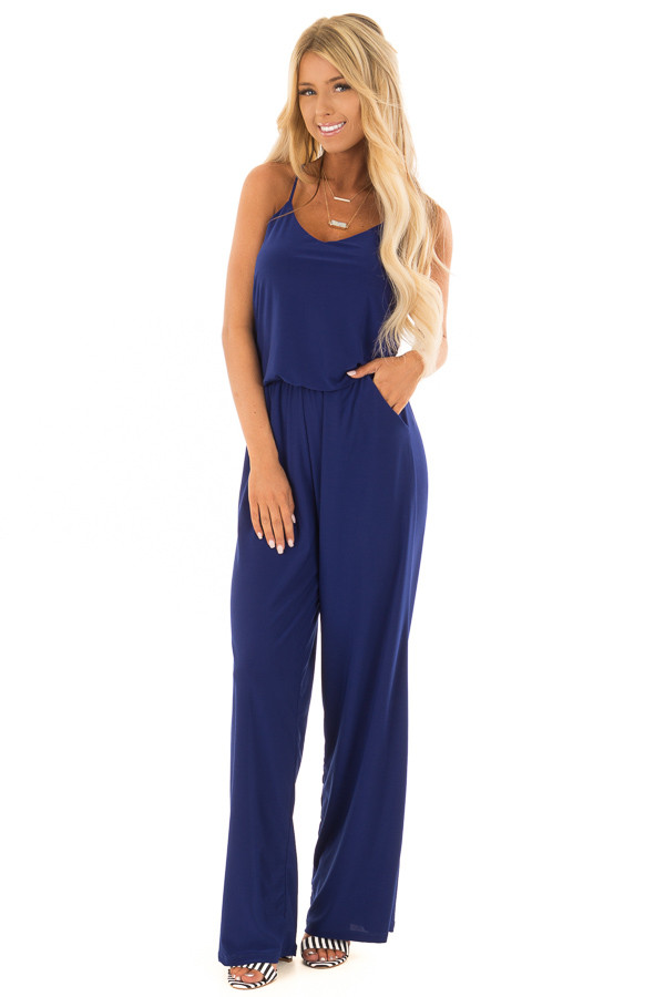 Royal Blue Slinky Jumpsuit with Elastic Waist and Pockets front full body