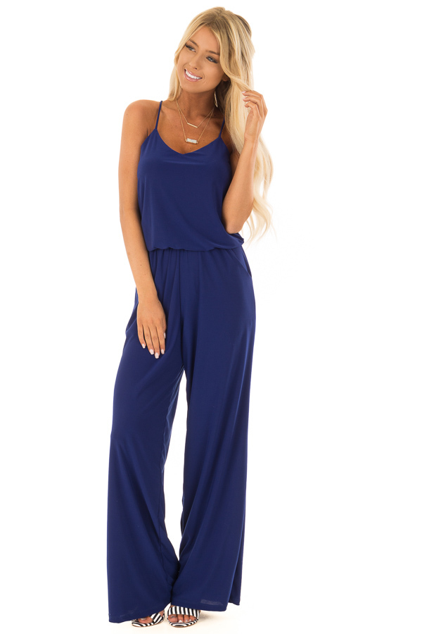 Royal Blue Slinky Jumpsuit with Elastic Waist and Pockets front close up