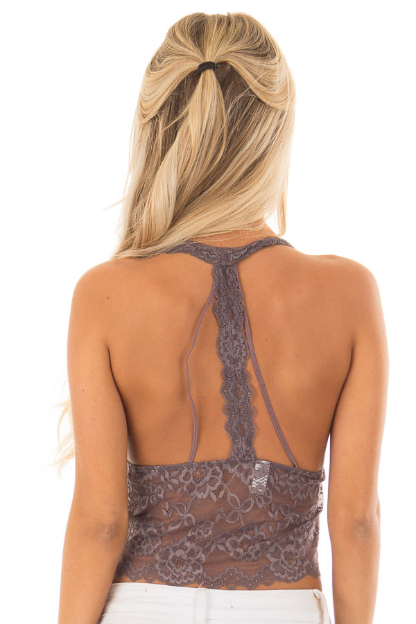Steel Grey Floral Lace Halter Racerback Bralette back close up