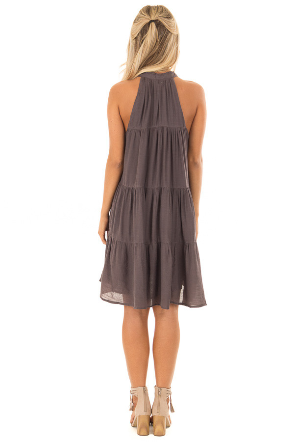 Midnight Grey Tiered Flowy Dress with Tie Detail back full body