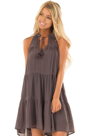 Midnight Grey Tiered Flowy Dress with Tie Detail front close up