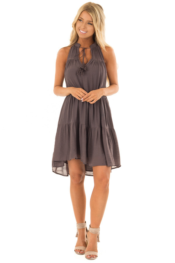 Midnight Grey Tiered Flowy Dress with Tie Detail front full body