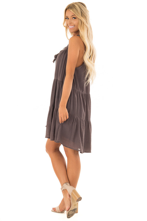 Midnight Grey Tiered Flowy Dress with Tie Detail side full body