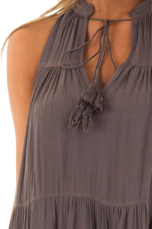 Midnight Grey Tiered Flowy Dress with Tie Detail detail