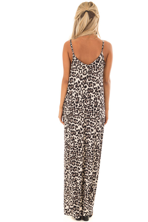 Beige Leopard Print Maxi Dress with Side Pockets back full body