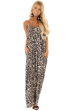 Beige Leopard Print Maxi Dress with Side Pockets front full body