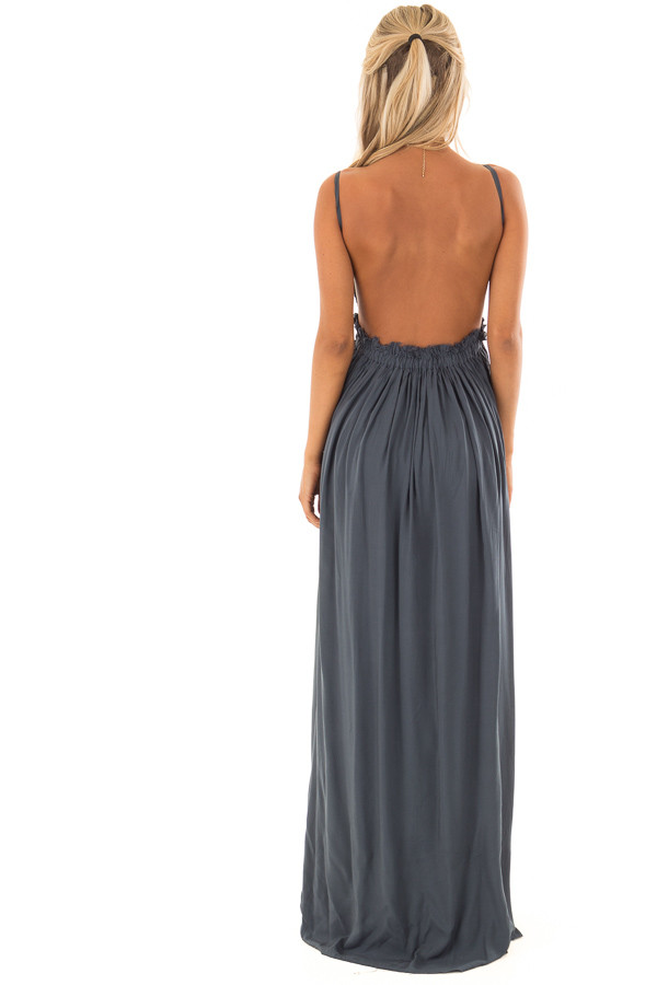 Deep Teal Backless Dress with Crochet Bodice Detail back full body