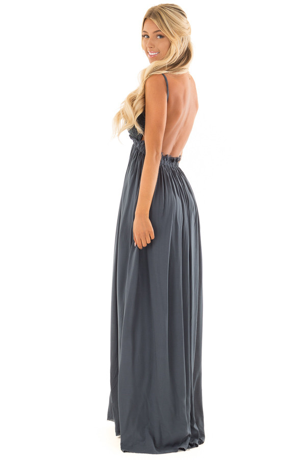 Deep Teal Backless Dress with Crochet Bodice Detail side full body