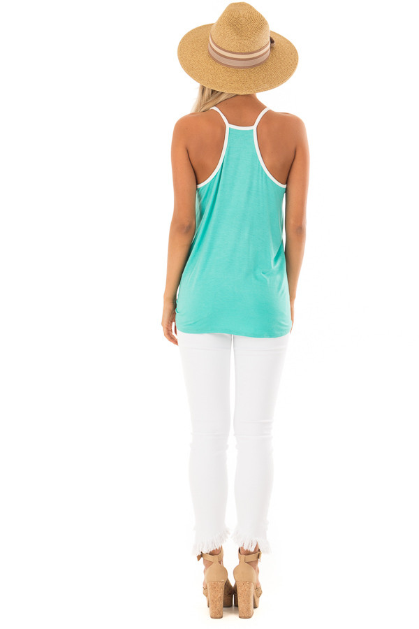 Mint Button Up Racer Back Tank Top with Front Tie Detail back full body