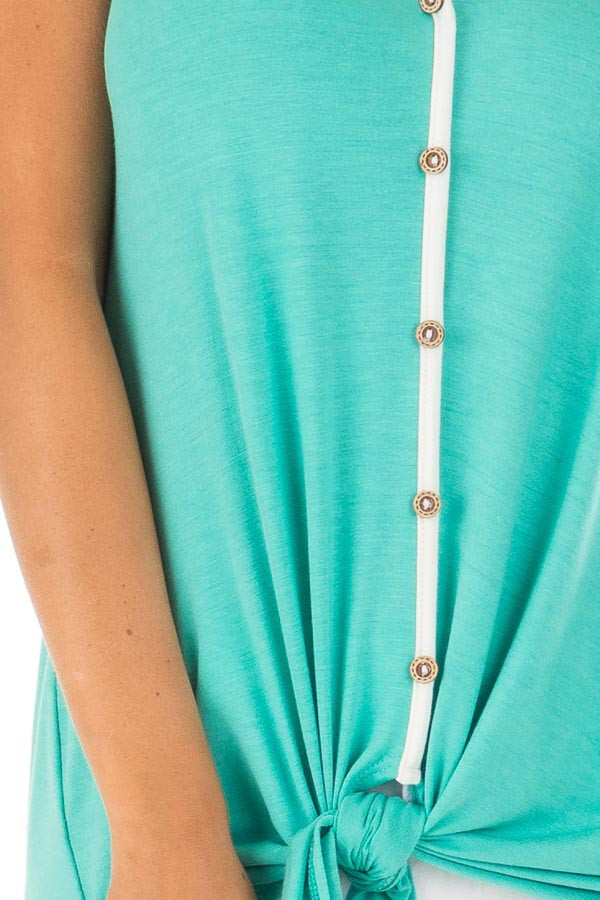 Mint Button Up Racer Back Tank Top with Front Tie Detail detail