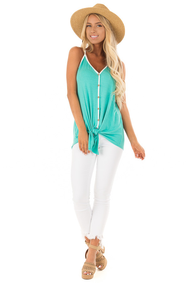 Mint Button Up Racer Back Tank Top with Front Tie Detail front full body