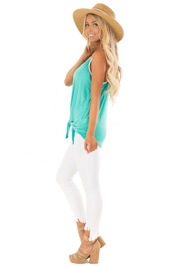 Mint Button Up Racer Back Tank Top with Front Tie Detail side full body