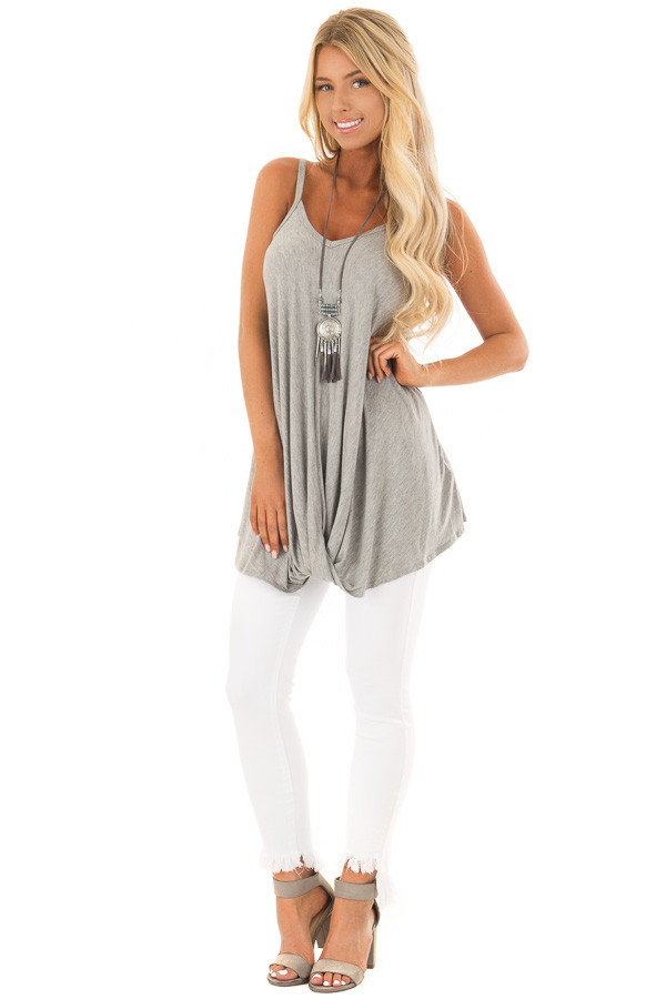 Heather Grey Sleeveless Tank Top with Front Twist Detail front full body