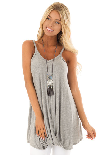 Heather Grey Sleeveless Tank Top with Front Twist Detail front close up