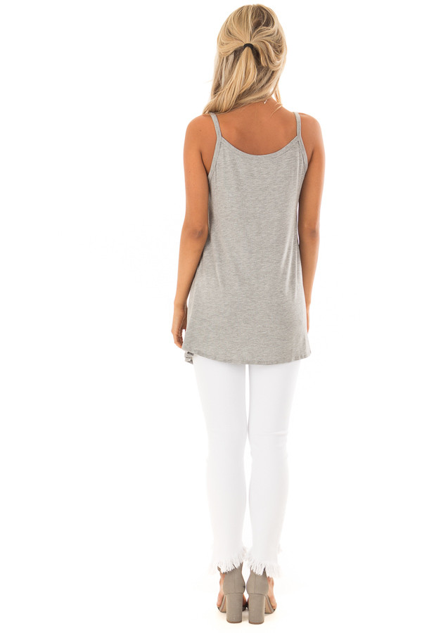 Heather Grey Sleeveless Tank Top with Front Twist Detail back full body