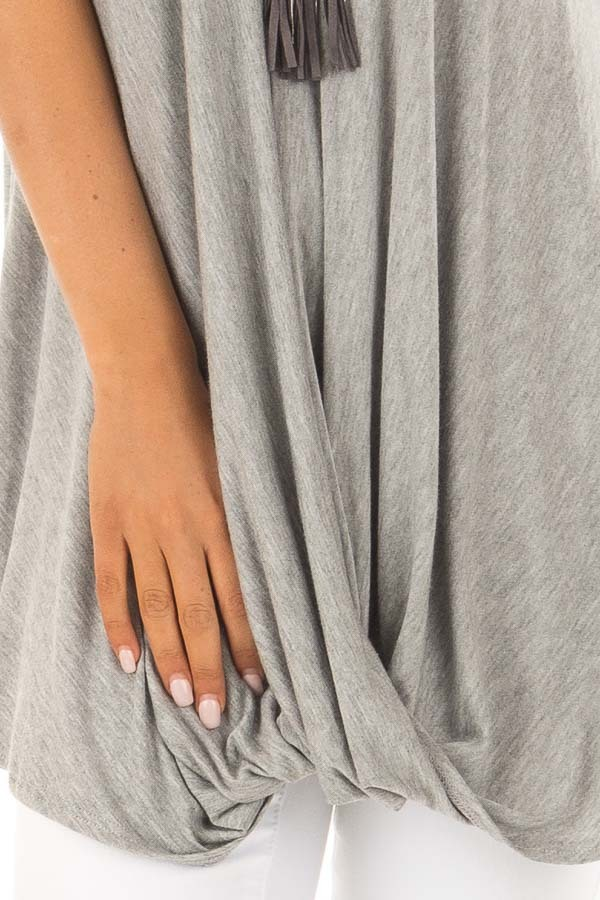 Heather Grey Sleeveless Tank Top with Front Twist Detail detail