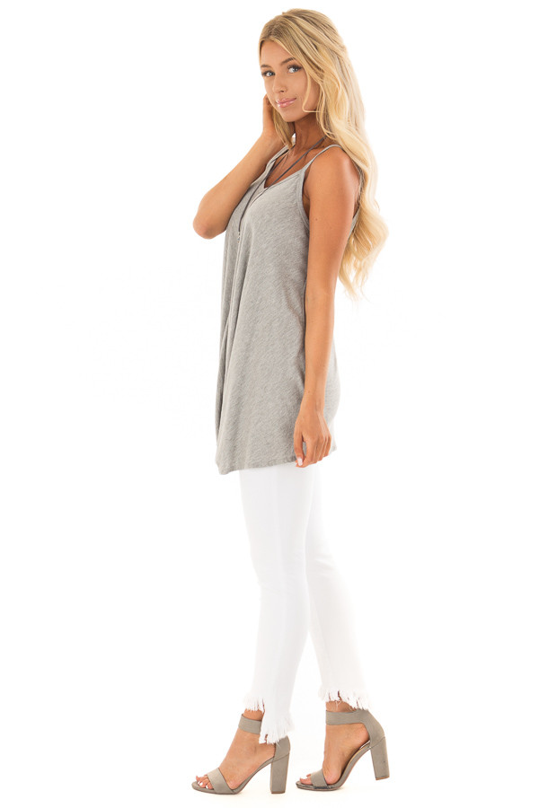 Heather Grey Sleeveless Tank Top with Front Twist Detail side full body