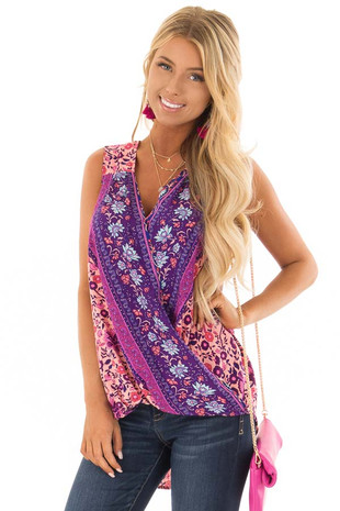 Pink Multicolor Floral Print Sleeveless Top front close up
