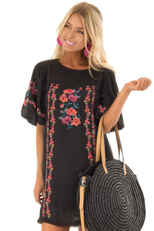 Black Floral Embroidered Dress with Short Puff Sleeves front close up