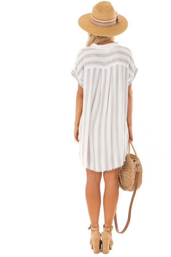 White and Navy Striped Collared Button Up Dress back full body