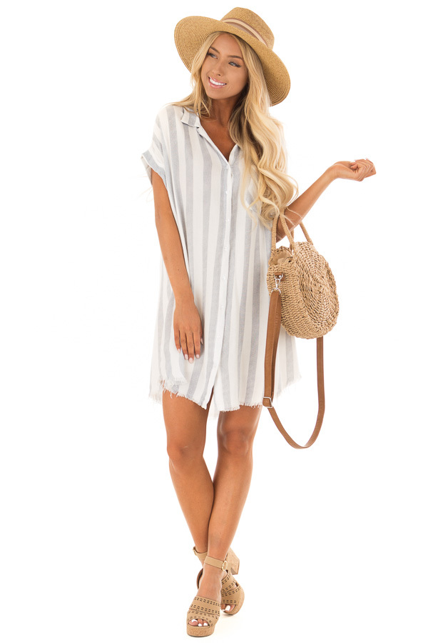 White and Navy Striped Collared Button Up Dress front full body