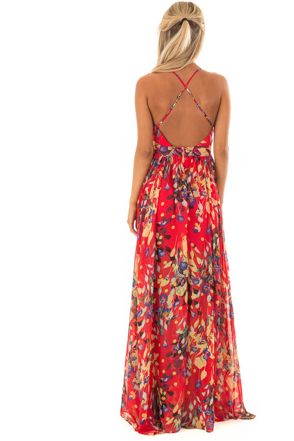 Candy Red Flowy Floral Print Maxi Dress with Plunging V Neck back full body