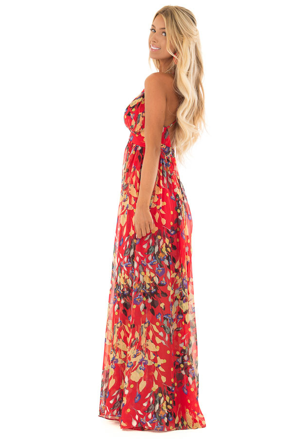 Candy Red Flowy Floral Print Maxi Dress with Plunging V Neck side full body