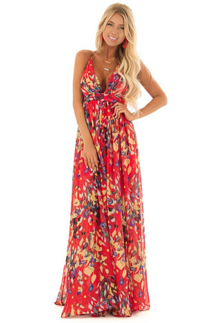 Candy Red Flowy Floral Print Maxi Dress with Plunging V Neck front full body