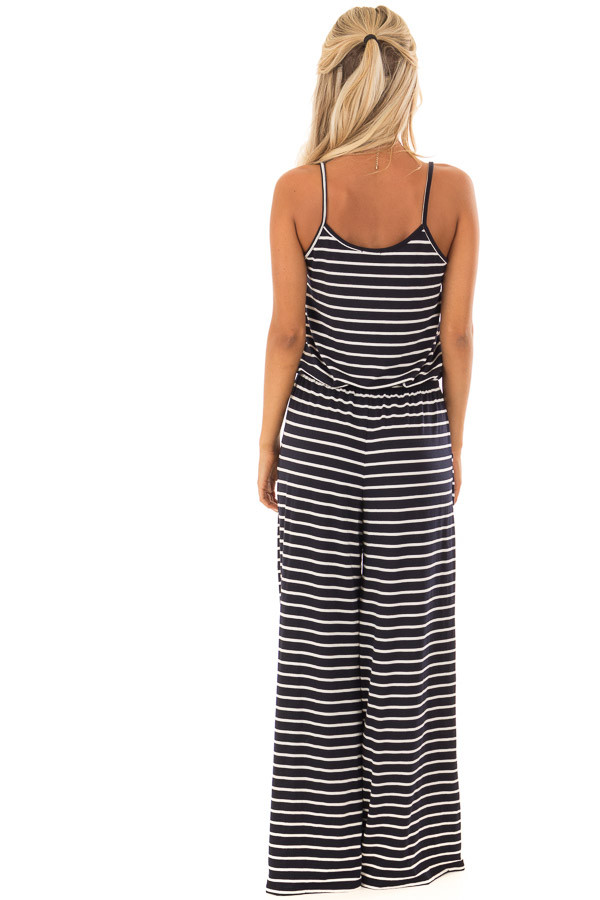 Navy Striped Spaghetti Strap Jumpsuit with Waist Tie back full body